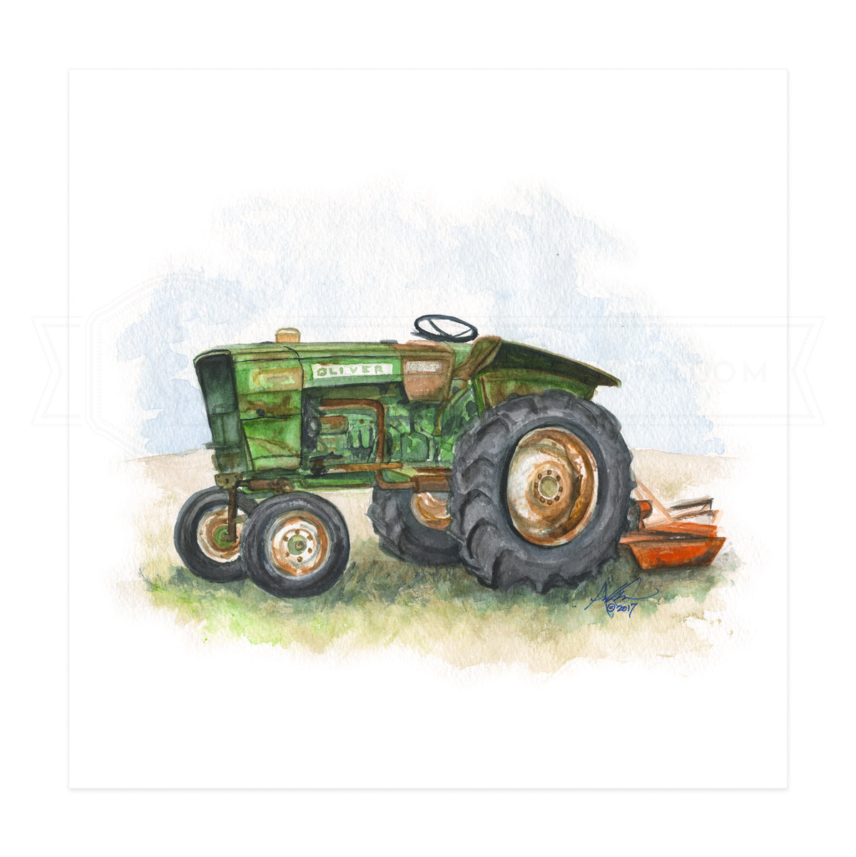 Ol' Green Oliver Tractor, Print
