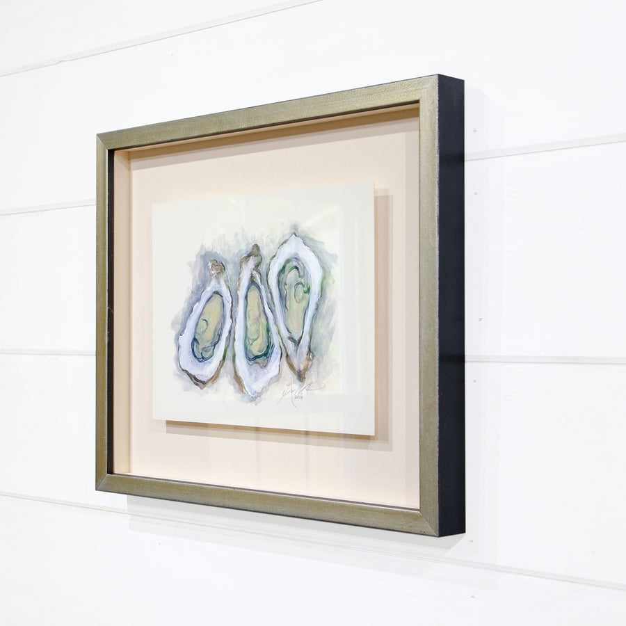 3 Oysters, Floated in Shadowbox Frame