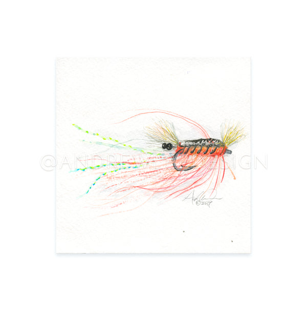 "Shrimp Fly Pattern 01, 6x6"" Original"