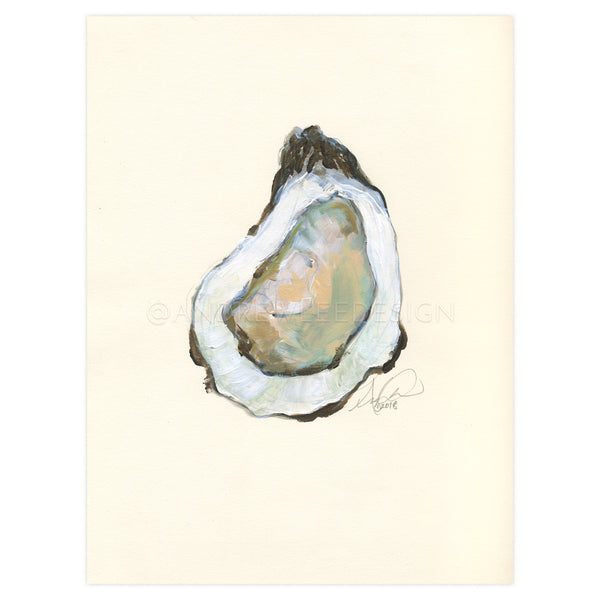 Oyster, Acrylic on Paper, 9x12""