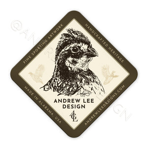 Bobwhite Quail Olive 4 Corners Decal