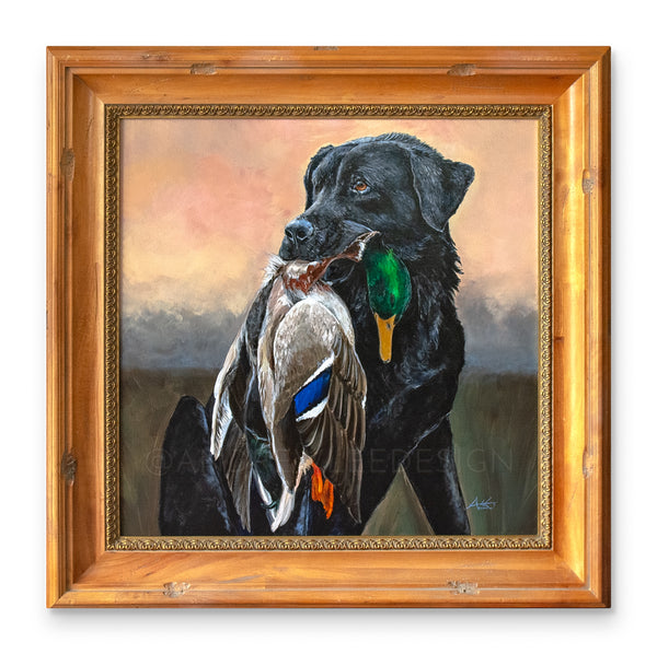 Proud Retrieve (Black Lab with Mallard Painting), 30x30""