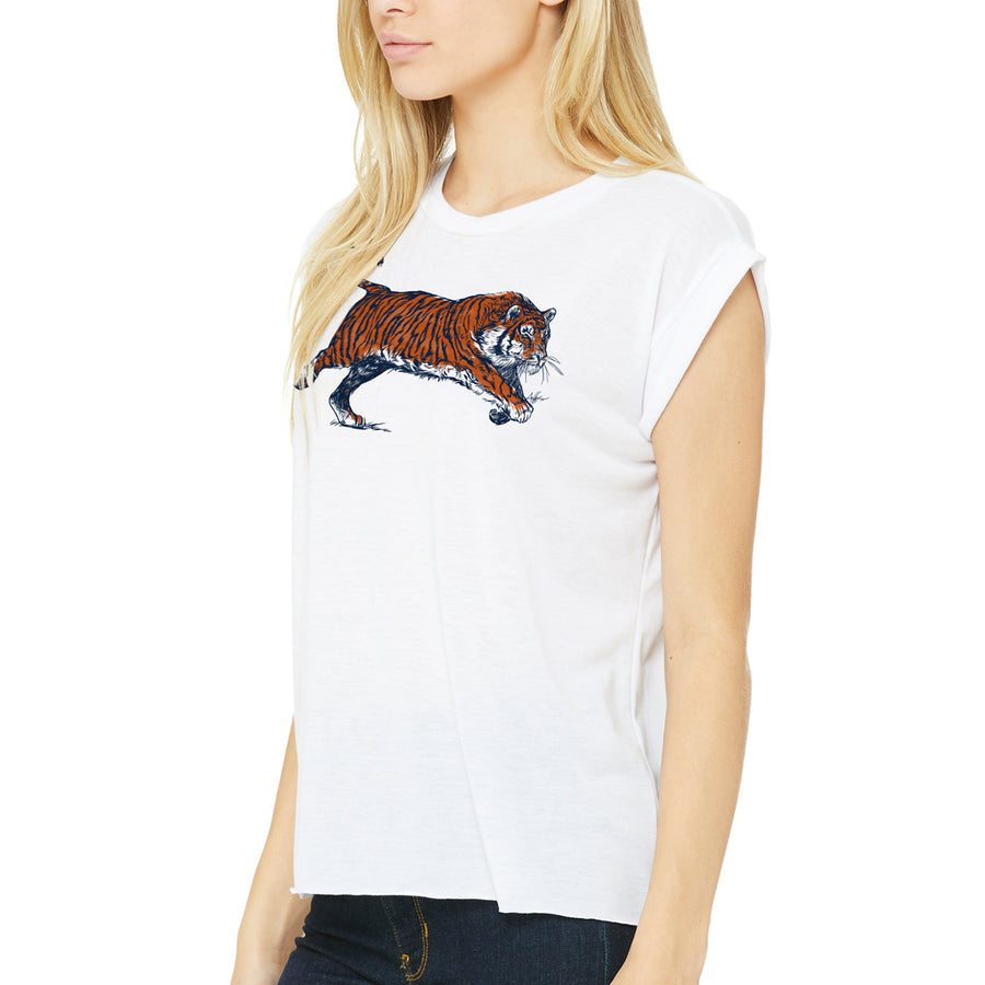 Charging Tiger Women's Top, Burnt Orange & Navy on White