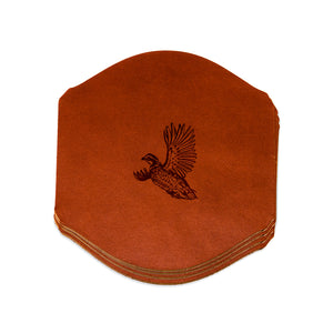 Signature Design Leather Coasters, Chestnut (4 pc set)