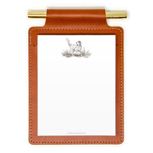 Chestnut Brown Leather Note Pad Holder Gift Set