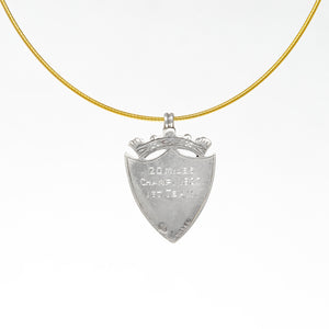 English sterling silver and gold shield medal necklace
