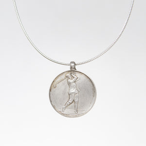 Vintage Silver Golf Medal Pendant Necklace