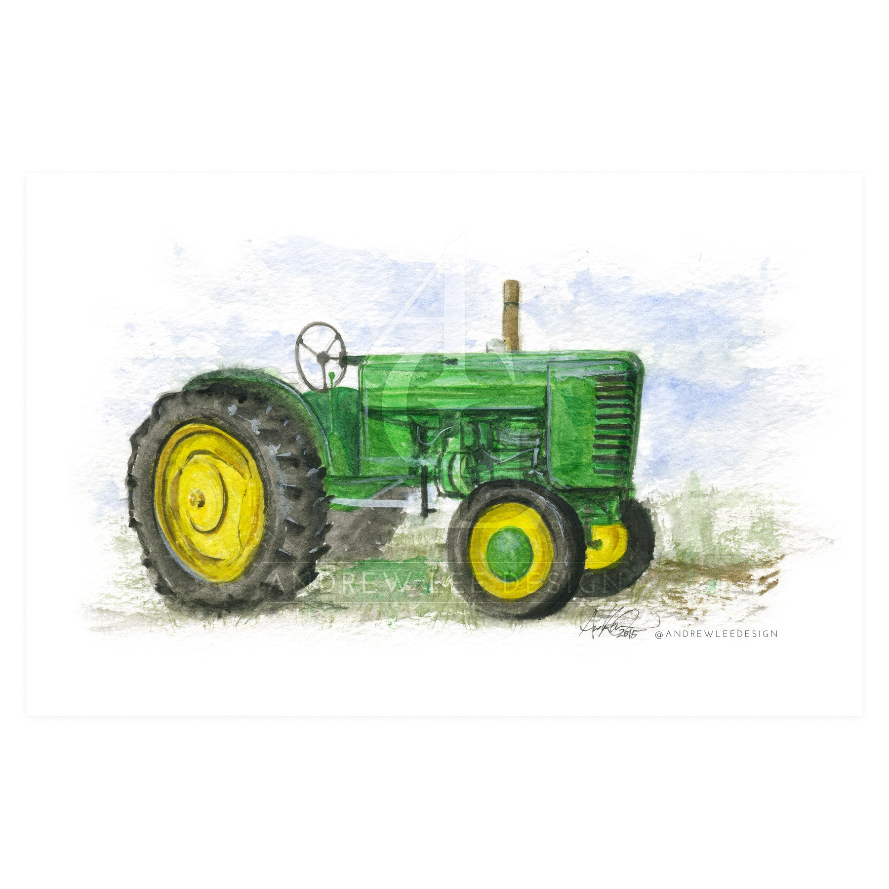 Old Green Tractor 5x7 Print Andrew Lee Design