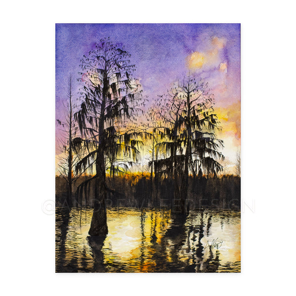 Alabama River Duck Hunting Sunrise, 9x12""