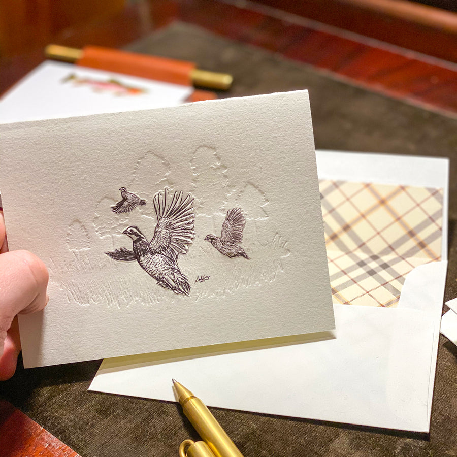 Letterpress Bobwhite Quail Stationery, Set of 5