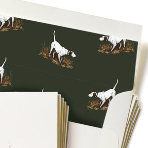 Letterpress English Pointer Stationery, Set of 5