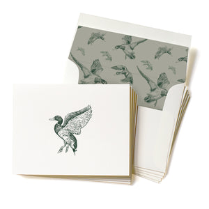 Letterpress Mallard Drake Stationery, Set of 5