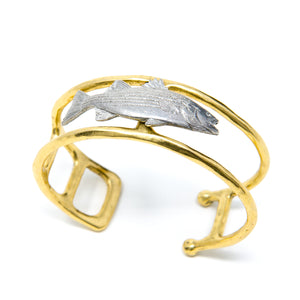 Pewter Striper Bass on Gold Finish Bracelet