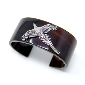 Custom horn cuff with Pewter Flying Pheasant
