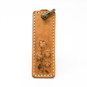 Cotton Stalk Leather Keychain, Handcrafted