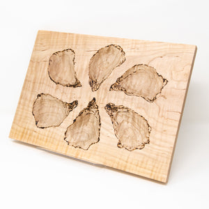Half-Dozen Oyster Server Board, Curly Maple