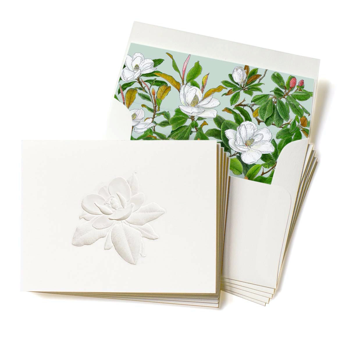 Deep Embossed Southern Magnolia Stationery, Set of 5