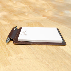 Dark Brown Leather Note Pad Holder Gift Set