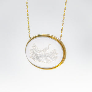 Mother of pearl pheasant pendant necklace