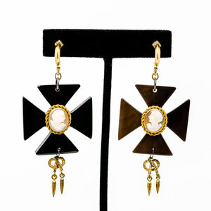 Cameo cross dangle earrings