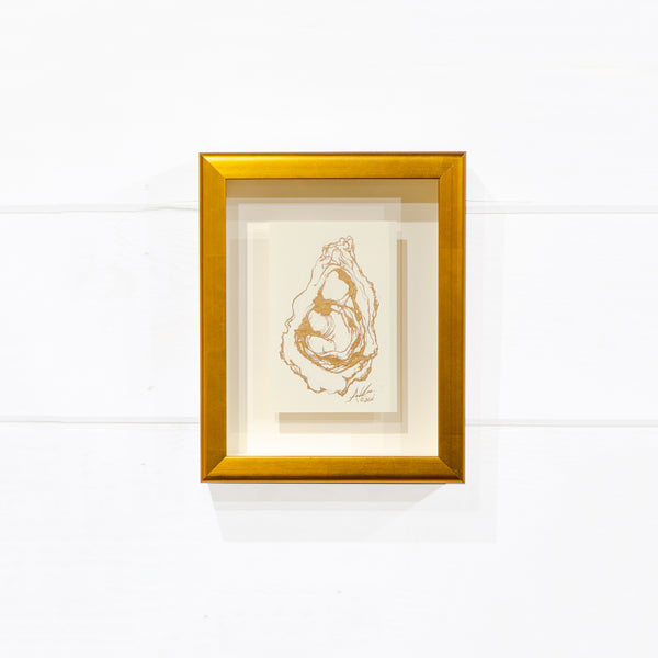 Gold Oyster, Floated in Gold Shadow Box