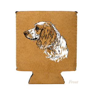 Faux Suede Folding Koozie, English Field Cocker