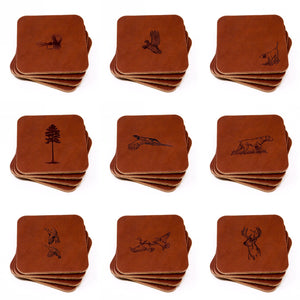Leather Coasters, Square, Chestnut (4 pc set)