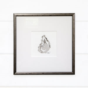 Set of 4 oysters, black sumi ink, Originals, framed