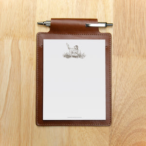 Medium Brown Leather Note Pad Holder Gift Set