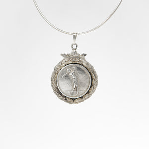 Vintage Silver Female Golfer Medal Pendant Necklace