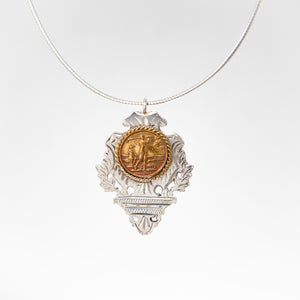 Ornate Silver & Gold Filled Golfing Medal Pendant Necklace