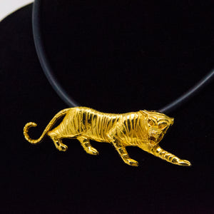 Vintage Costume Tiger on neoprene necklace