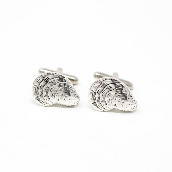 Oyster Cufflinks, Polished Surgical Steel