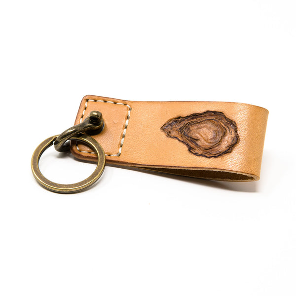 Oyster Leather Keychain, Handcrafted
