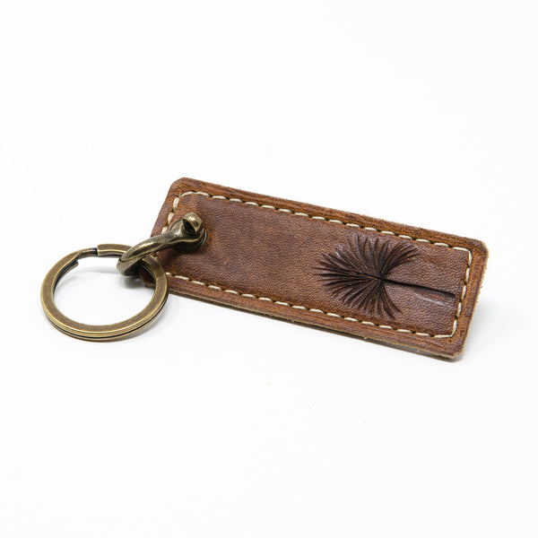 Palmetto Frond Leather Keychain, Handcrafted