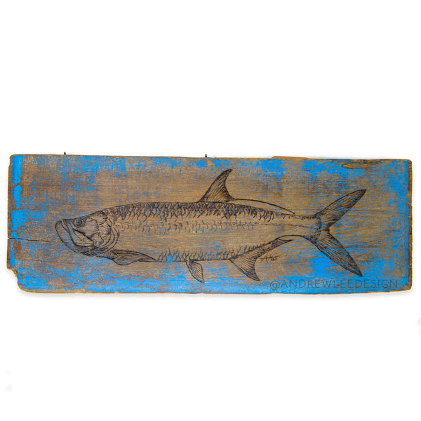 Tarpon, on Antique Wooden Teak Panel