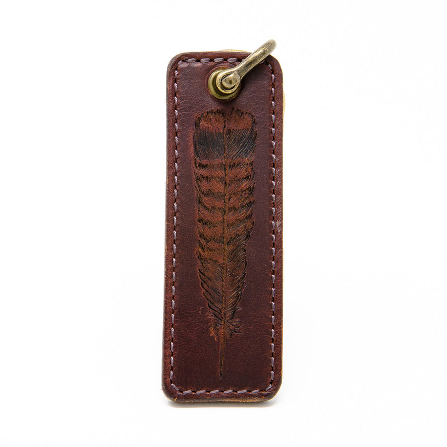 Turkey Feather Leather Keychain, Handcrafted