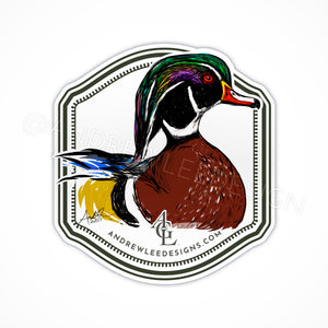 Wood Duck on Water Decal, 4x4""