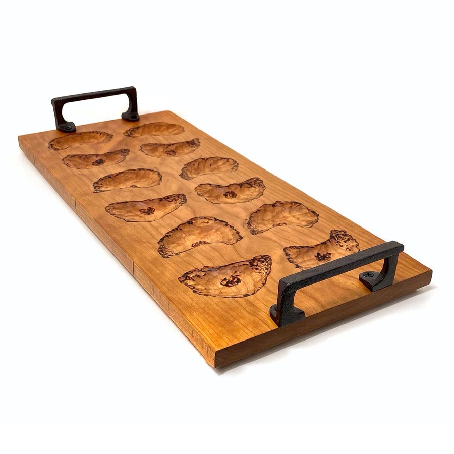1 Dozen Oyster Server Board, Curly Cherry