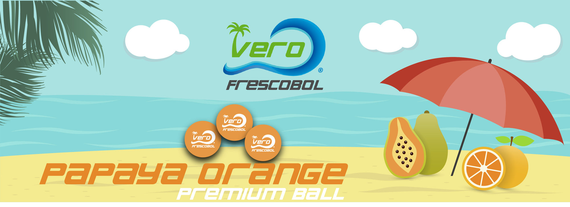 Frescobol balls in Papaya Orange for fun beach game play