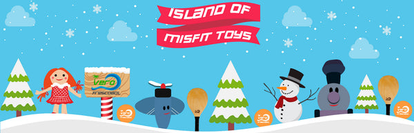 Frescobol Land of Misfit Toys Made in USA gifts with American wood paddleball on the beach