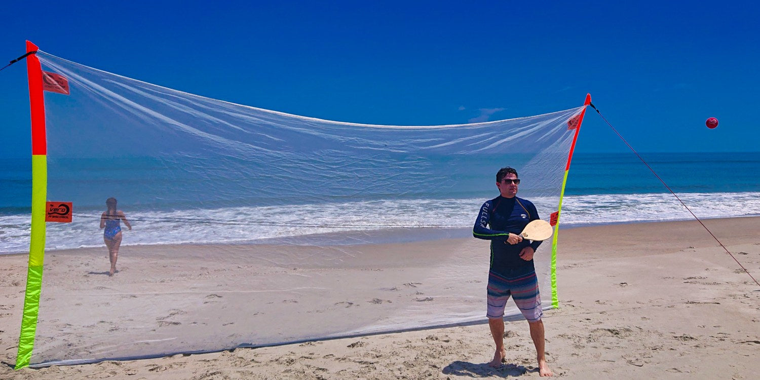 vero frescobol backstop nets by steve green of london united kingdom for beach bat games