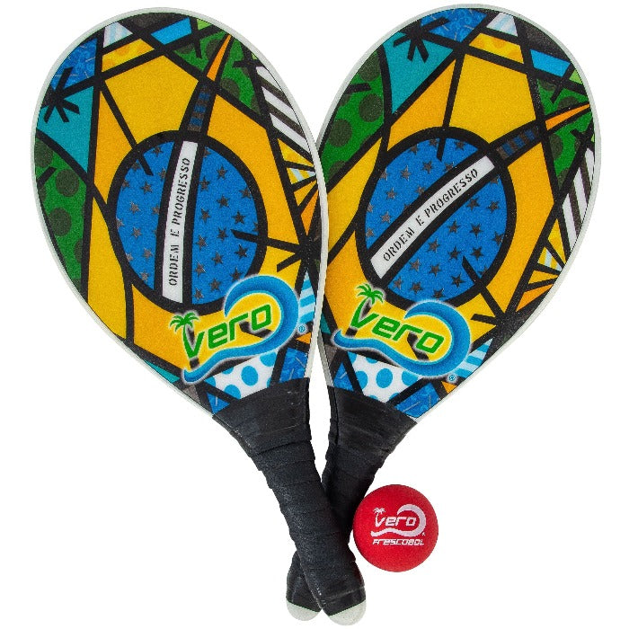 Frescobol Brasil Flag Animado Beach Paddle Kit