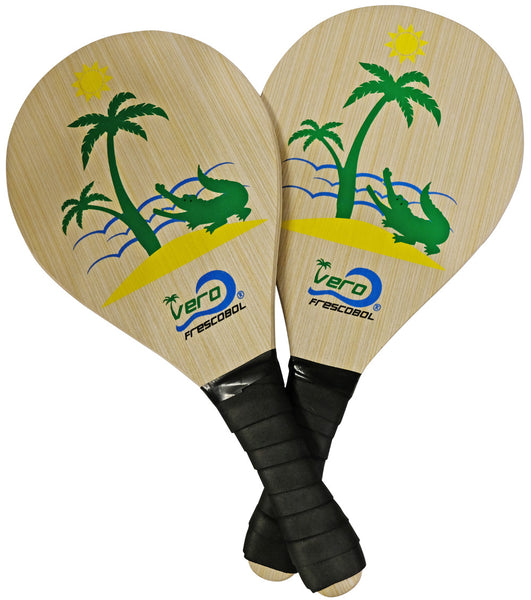 Pink Flamingo & the Green Alligator Premium Frescobol Paddle Sets