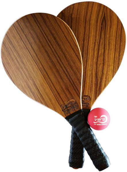 Teak Wood Frescobol Beach Paddle Kit