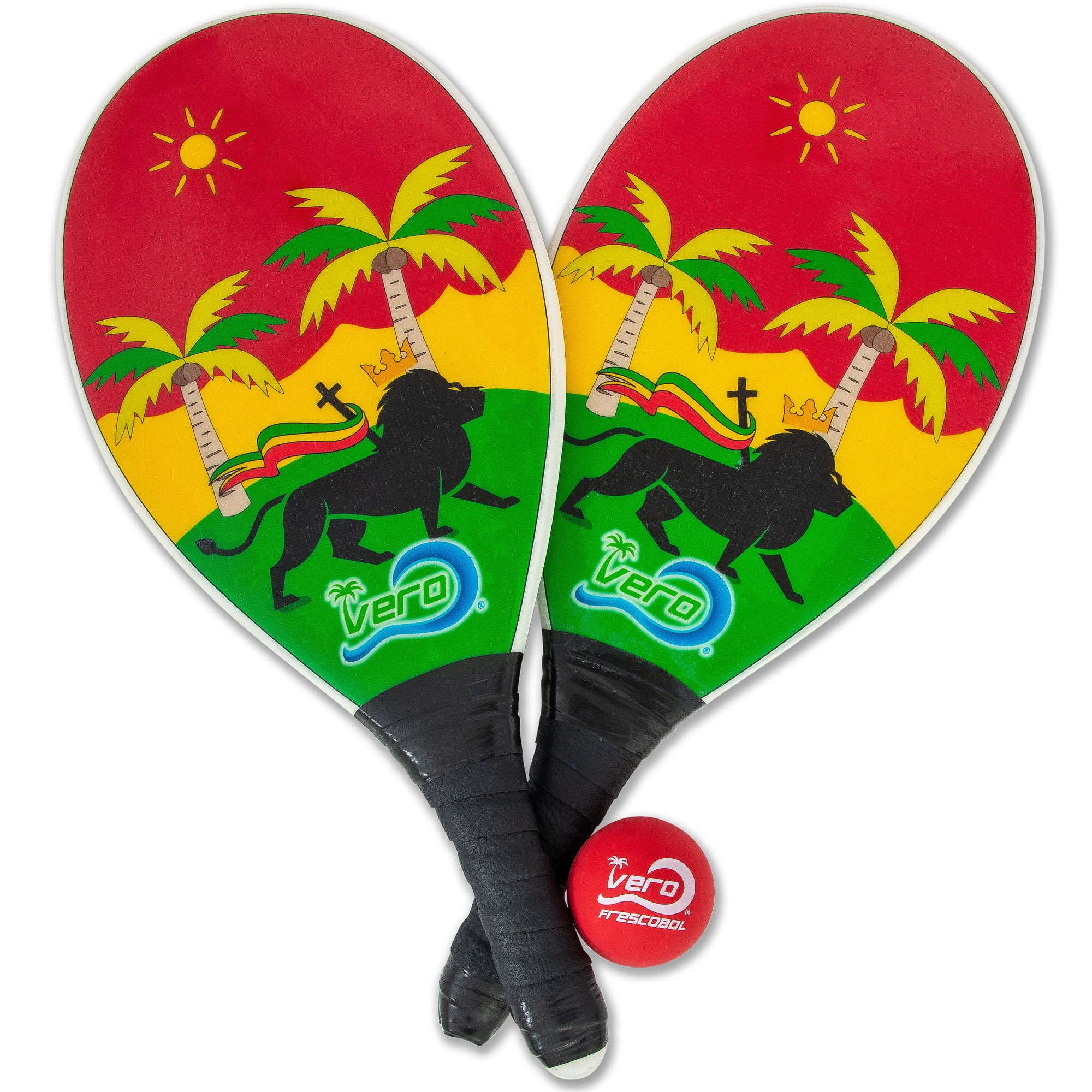 Frescobol Lion of Judah Rasta Beach Paddle Kit