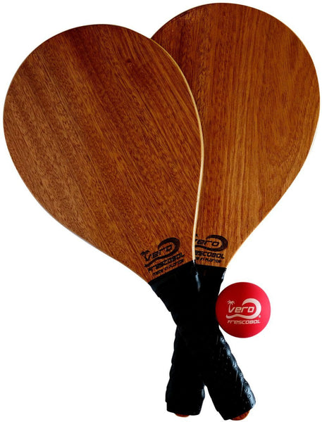 Frescobol Mahogany Wood Beach Paddle Kit