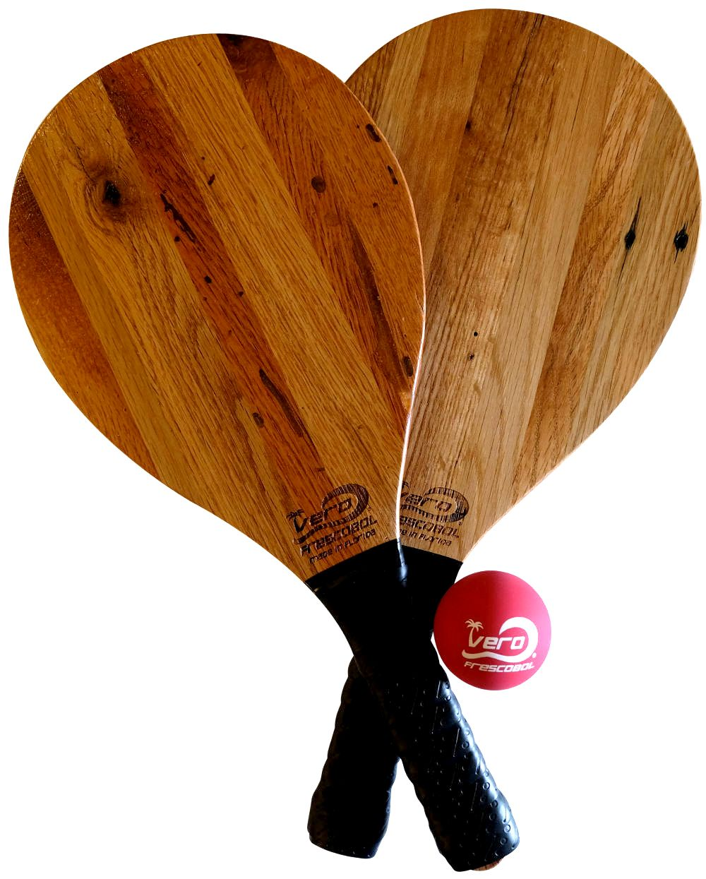 Reclaimed Tobacco Barn Solid Wood Frescobol Beach Paddleball Kit