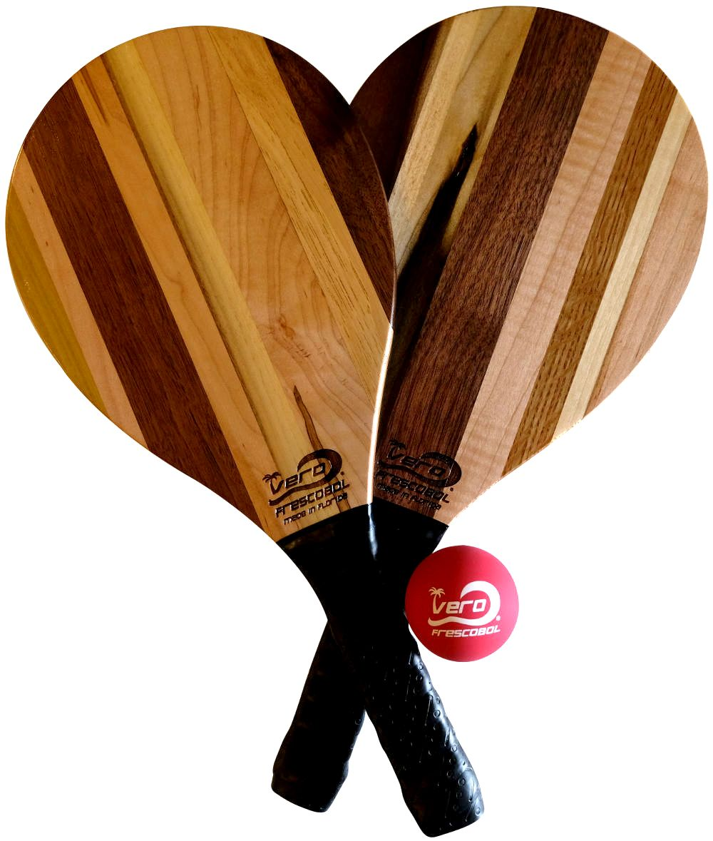 Hickory, Walnut, Poplar, Maple, Cherry Solid Wood Frescobol Beach Paddle Kit