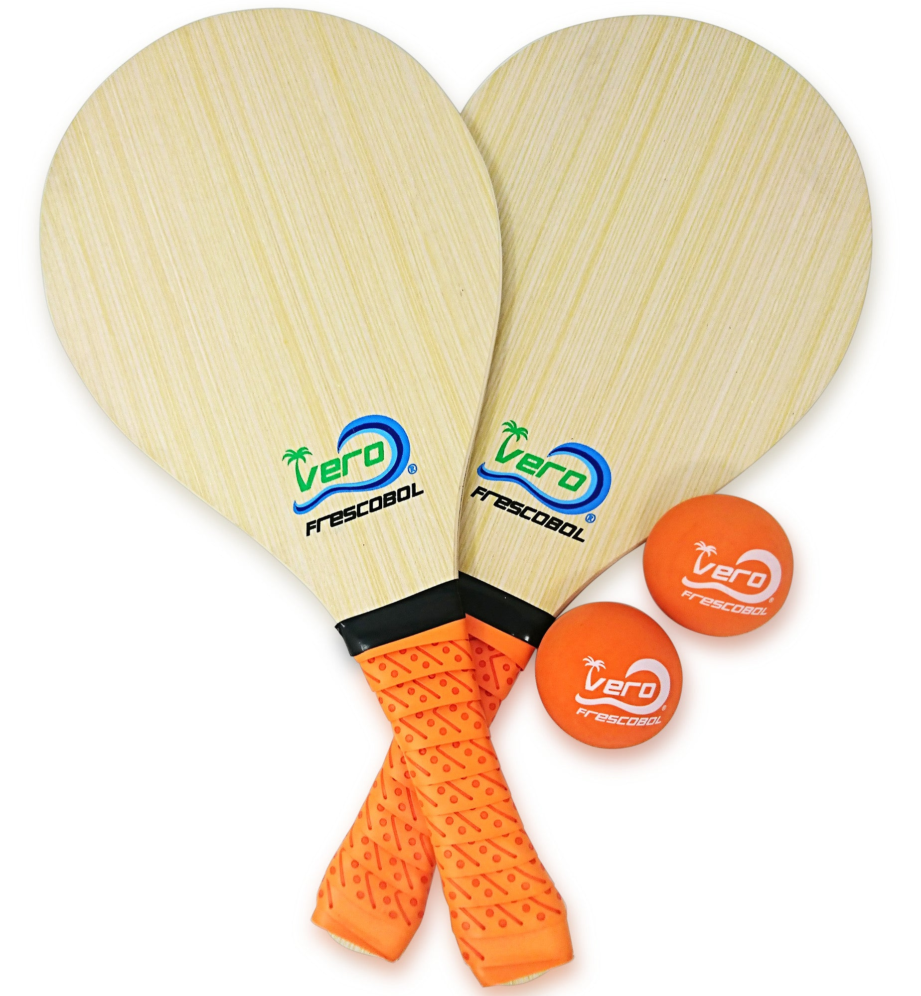Florida Orange Wood Frescobol Beach Paddle Game Kit
